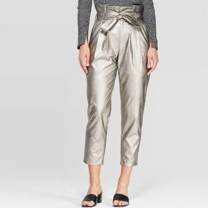 WHO WHAT WEAR metallic paperbag waist mid rise